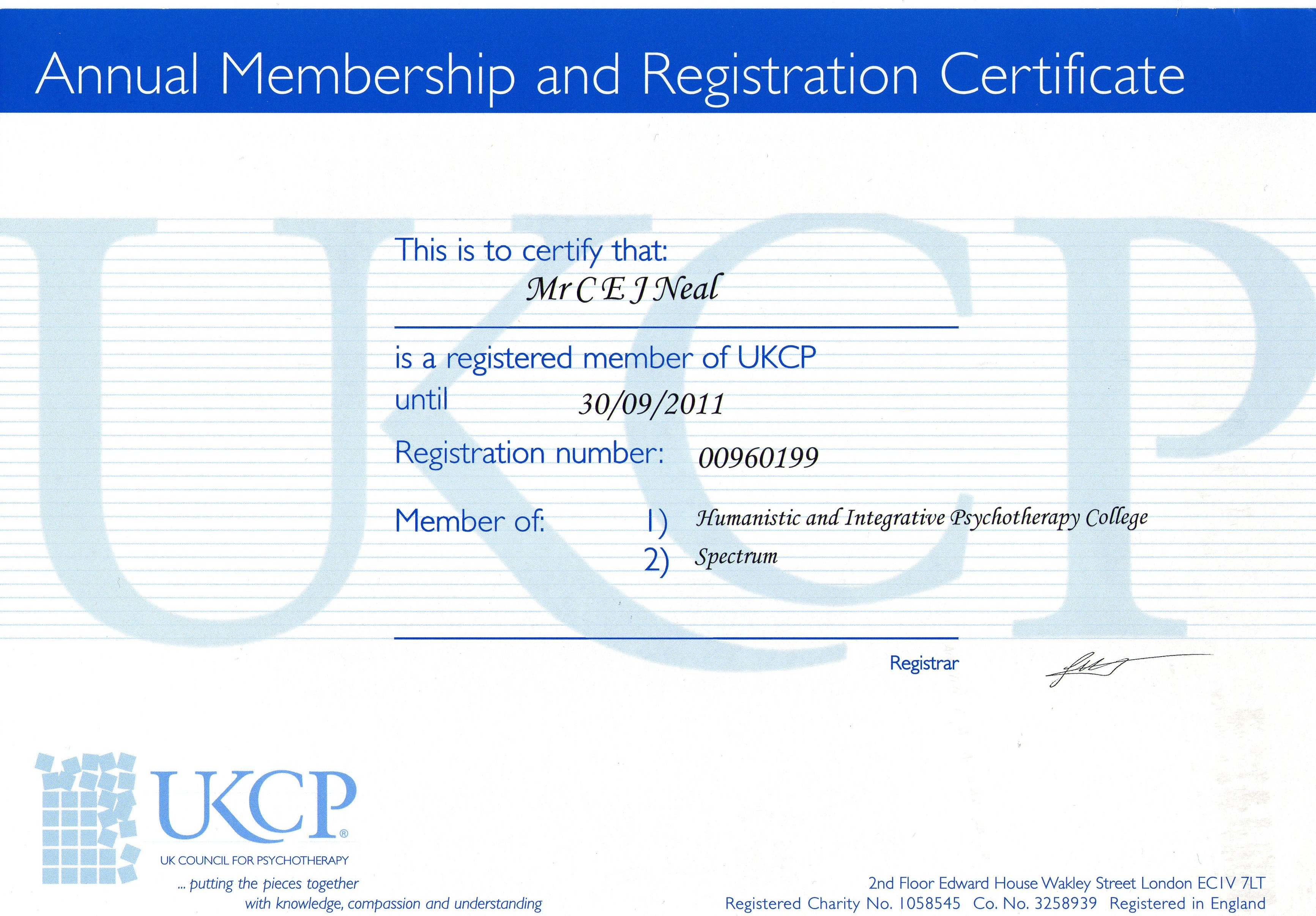 2011 UKCP Accrediatation   REgistration Cert ... hamster, monkey, mouse, parrot, pig, pigeon, rabbit, and rat (8).